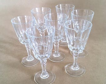 Vintage 70's Cut Crystal Cordial Liqueur Sherry Glasses - Set of 7, Lady Victoria Fine Crystal Stemware Made in France Chantelle Pattern