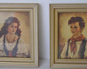 2 Antique Gypsy Pictures Wood Frames Girl & Boy by Elena Chiko  Elena Chiko