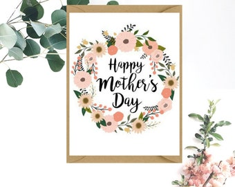 Happy Mother's Day Card   Floral Wreath Happy Mother's Day Card   Card for Mother   Card for Mum   Card for Grandma