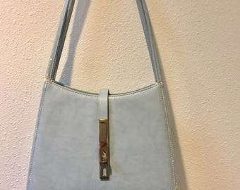 1960's Vintage Robins Egg Blue Audrey Hepburn Hand Bag with Lovely Silver Clasp