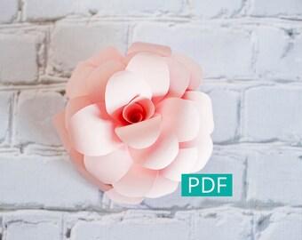 Paper Flower Template PDF, DIY Flower, DIY Decor, Large Paper Flower, Paper Rose, Nursery Decor, Wedding Decor, Party Decor, Flower Backdrop