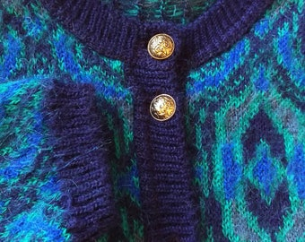 Vintage 80's mohair blend cardigan/ Vintage abstract print cardigan/ Hipster mohair blend cardigan/ Boho blue and green cardigan