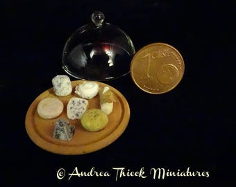 Miniature Cheese Platter with Dome - 1/12 - dark or light platter