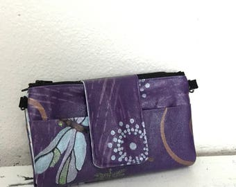 Dragonfly Hand Painted Wallet/Crossbody Clutch