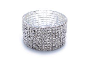 Crystal Cuff Bracelet, Rhinestone Stretch Bracelet,Crystal Bracelet, Wedding Bracelet, Prom Bracelet,Bridal cuff