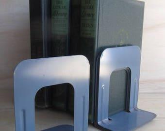 Vintage Industrial Metal Book Ends, vintage Office, Schoolhouse Book Ends, industrial, metal, metal office, vintage silver lining, book ends