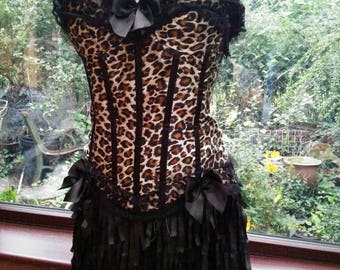 Budget costume includes lace necklace brocade corset short tassel skirt lace up belt goth zombie day of the dead burlesque Halloween party