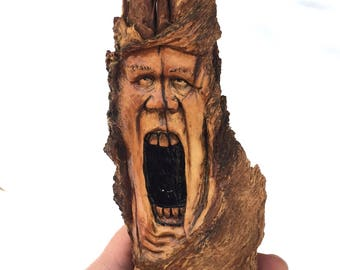 Wood Spirit Carving, Hand Carved Wood Art, Face Sculpture, Rustic Home Decor, by Josh Carte, OOAK Handmade Woodworking, Perfect Wood Gift