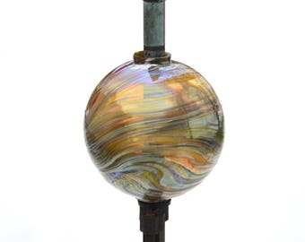 Hand Blown New Lightning Rod Glass Ball, Weathervane Ball,  Gold Y1