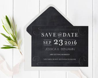 Chalkboard Save the Date Template with Envelope Liner, Chalkboard Wedding Save the Date Editable PDF Templates, DIY Printable, DIY You Print