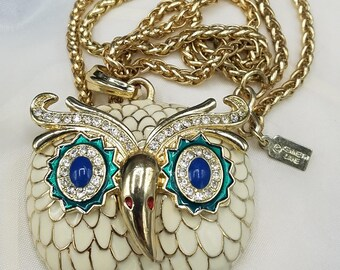 Kenneth Jay Lane Beautiful Enamel Owl with Crystals  Necklace