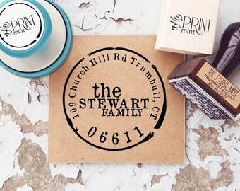 Self-Inking Address Stamp, Custom Return Address Stamp, Round Address Stamp, Vintage Address Stamp, Housewarming Gift 10133