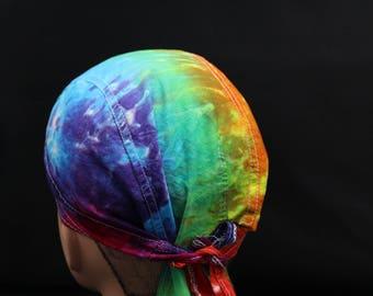 Tie Dye Doo Rag, Rainbow Head Wrap, Trippy Skullcap
