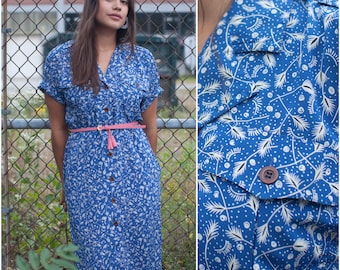 80s does 40s Blue Military-Inspired Shirt Dress //  Liz Claiborne Button Front Short Sleeve Shirtdress w Pockets sz M / L
