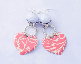 Pink Vintage Tin Heart Dangle Earrings with Lavender Purple Faceted Beads, Pink and Purple Earrings, Heart Jewelry