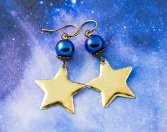Celestial Gold Star Tin Earrings with Cobalt Blue Hematite Beads, Space Jewelry, Star Jewelry, Metallic Blue Earrings