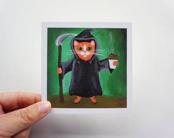 "Grim Reaper Tabby Cat Print, 4x4"" Halloween Tabby Cat Print, Grim Reaper Halloween Cat Print by Amber Maki"