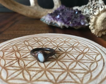 Oval Opal Copper Ring Size 4 1/2 | Electroformed Copper Ring