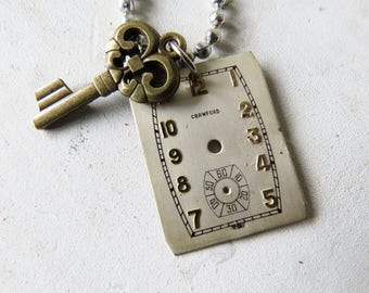 """Vintage Watch Face & key necklace Watch Necklace 24"""" Ball chain"""