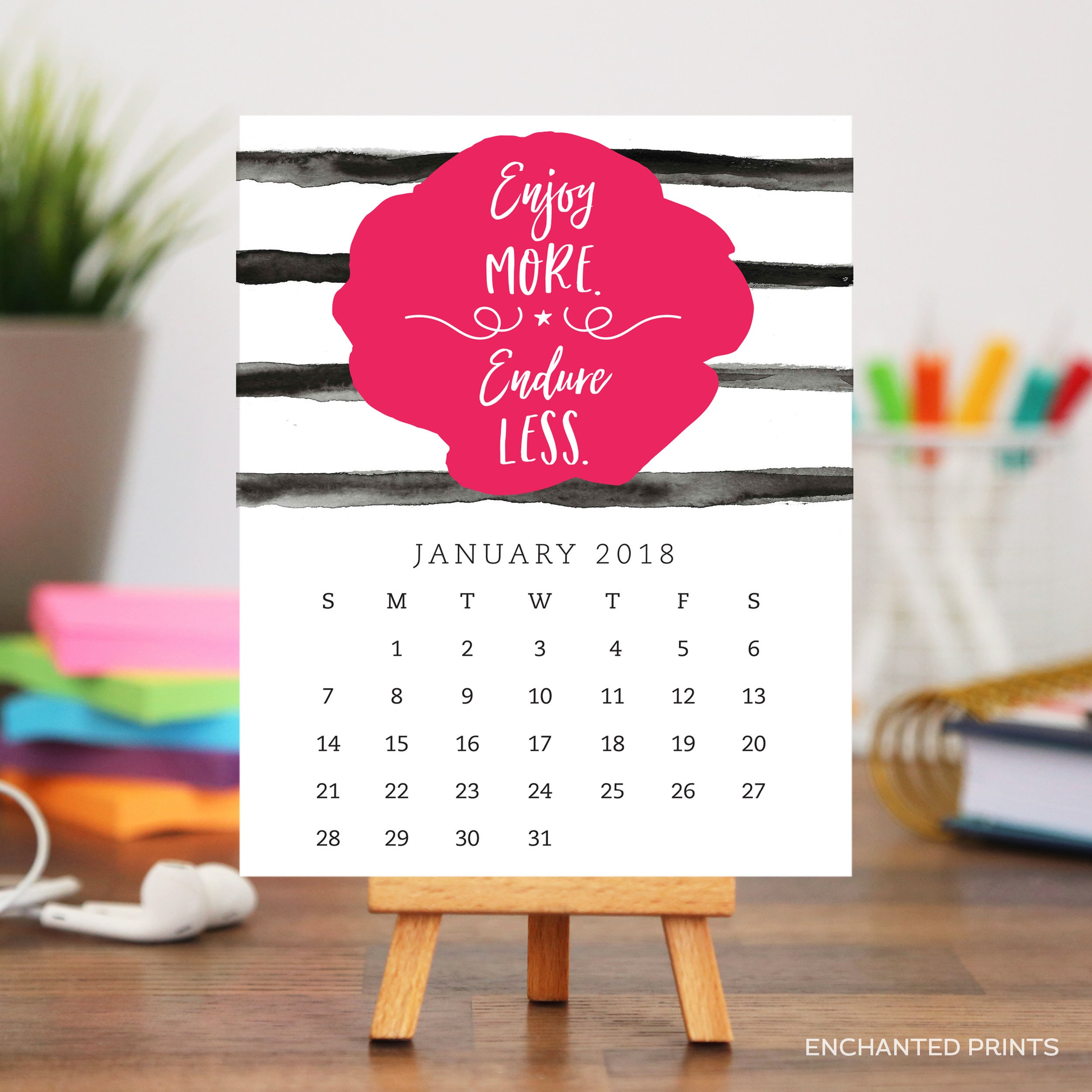 Inspirational Quotes Desk Calendar 2018 : Desk motivational quotes calendar and stand