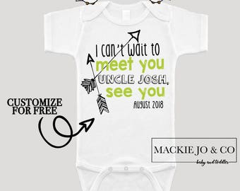 Can't wait to meet you UNCLE Future Uncle Baby Bodysuit Customize Color and Date Baby Announcement