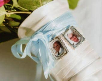 Memorial Photo Charm to Attach to your Wedding Bouquet (includes everything) Missing you as I walk down that aisle - Gift Bridal Shower