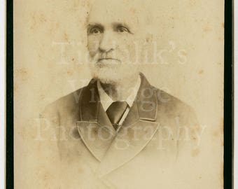 Cabinet Card Photo Portrait of Old Victorian Man with White  Beard by Baker of Commercial Road E. England