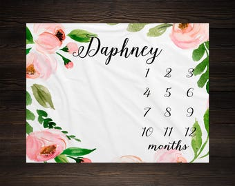 Floral Milestone Baby Blanket Month Growth Tracker Minky Fleece Blanket Custom Personalized Baby Shower Gift Watercolor Baby Girl Newborn