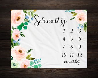 Baby Girl Milestone Blanket Month Growth Tracker Minky Fleece Blanket Custom Personalized Baby Shower Gift Watercolor Floral Newborn