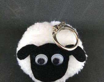 Sheep pompom keyring bag charm handmade - custom  animals  available