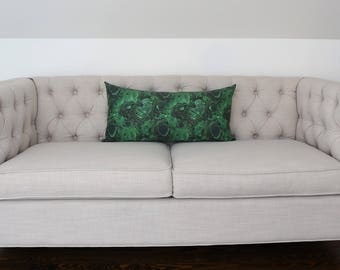 READY TO SHIP - 14 x 28 Malachite Lumbar Pillow Cover (sized to fit 15x30 insert)