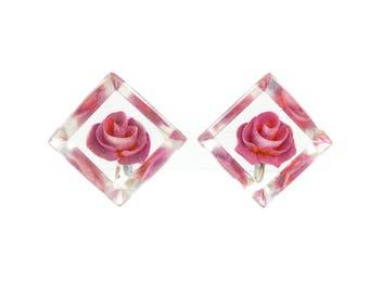Vintage Lucite Flower Earrings, Clear, Pink Roses, Screw Backs