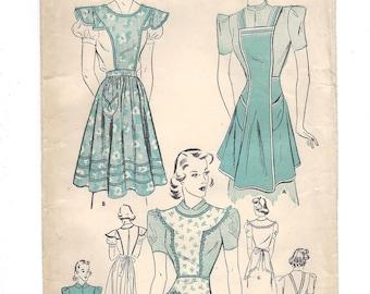 1930s Advance 2113, Apron Set, Bib Apron, Capelet Bib, Half Apron, FF Sewing Pattern, Size Small 14-16 Years Bust 34