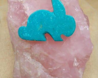 Large Blue Turquoise Rabbit Cabochon/ backed/bunny/ hare