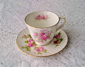 Duchess White & Pink Rose Floral Bone China Teacup and Saucer - Made in England