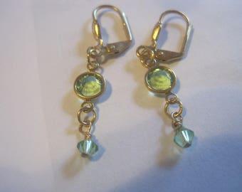 Swaroski Peridot Crystal earrings with Gold Tone Ear Wires