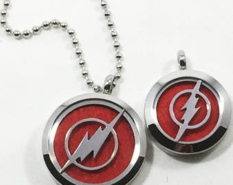 Superhero diffuser necklace - Lightning bolt - Stainless Steel - Men's Boy's