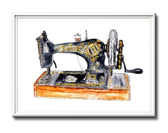 Sewing, home decor wall art, limited edition sewing machine print. Mothers day gift idea.  Art print, sewing