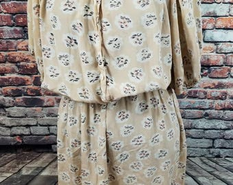 Vintage Neiman Marcus Dress/ Silk Floral Dress/ As Is /Floral Summer Dress with Sleeves