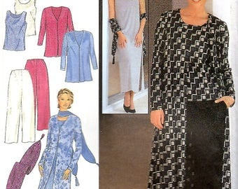 Misses Duster Length or Hip Length Jacket, Long Dress or Top with Slits, Pull-On Pants, Scarf, Sizes S-XXL, Style 2857