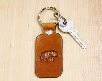 Brown Bear Key Fob, Leather Key Fobs, Bear Keychain, Bear Lovers Gift For Husband, Leather Key Chains, Gift For Dad,  Bear Keyring, BBR24