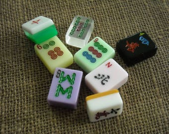 Mahjong Crafts - Colored Mahjong Tiles - Mahjong Tiles for Crafts - Mahjongg Supplies - Free Shipping - Mahjong Variety Colors