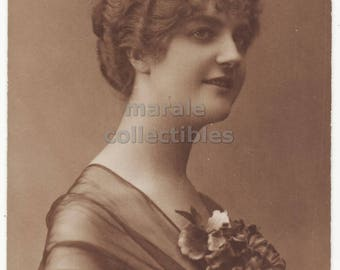 Elegant Smiling Woman with Short Curly Hair, ca1910s retro lady vintage antique portrait photo postcard