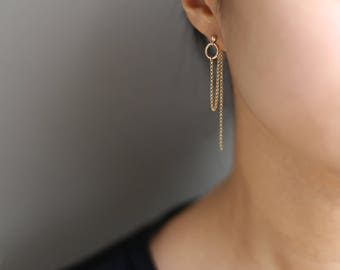 Chain ring Thread Earrings // Dangling Chain Hoop Ear Thread // Threader earrings, gold statement hoops // Perfect Gift for Her