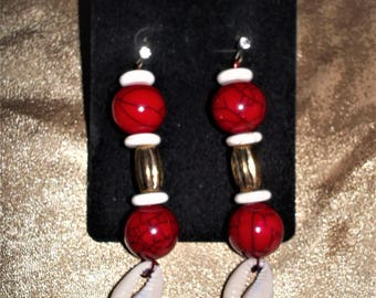 Red Bead and Cowrie Shell Dangle Earring