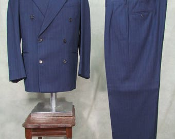 1950s Suit Pin Stripe Double Breasted Navy Blue Size 40L  42L
