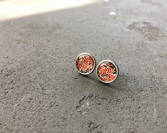 Leaves pattern stud earrings, red and white floral posts, CuteBirdie