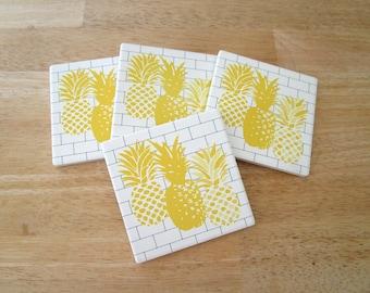 Pineapple Stone Drink Coasters   Yellow Kitchen Decor   Absorbent Sandstone  Tile Coasters   Modern Barware
