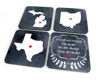 State Coasters for Drinks, Custom Drink Coasters, Close at Heart, Sentimental Gift, Long Distance Friends and Family Gifts, Moving Away Gift