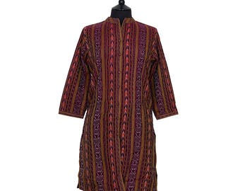 IKAT TUNIC – All sizes – Burgundy with Orange and Gold – 100% cotton